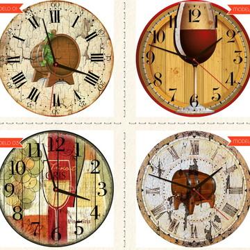Relógio De Parede Estilo Rústico Bebidas