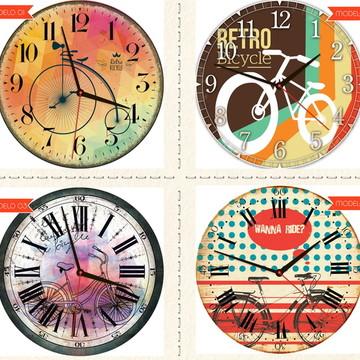 Relógio De Parede Estilo Rústico Bikes