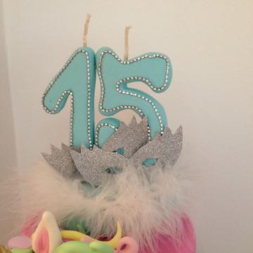 Vela 15 anos Azul Tiffany