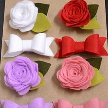 kit laço e flores de feltro