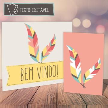 Placas Festa Boho p/ imprimir