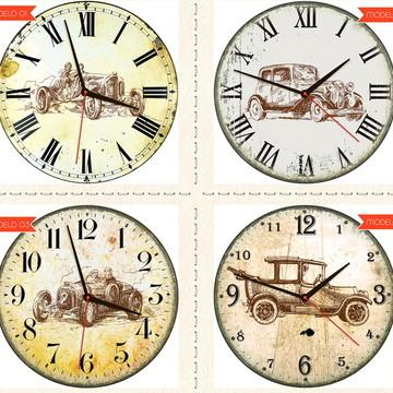Relógio De Parede Estilo Rústico Carros