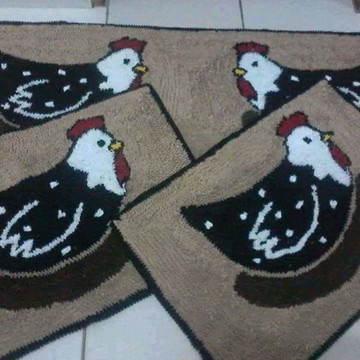 Tapete frufru cozinha galinha