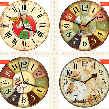Relógio De Parede Estilo Rústico Chefes