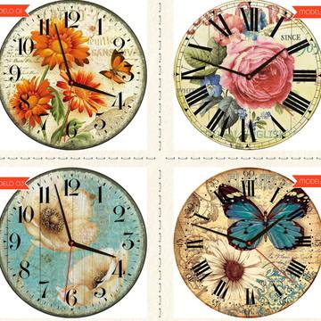Relógio De Parede Estilo Rústico Floral