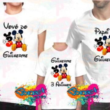 Camisa Aniversário Mickey e Minnie 5 Pç