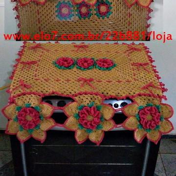 Capa para Fogão 6 Bocas de Crochê Camélia