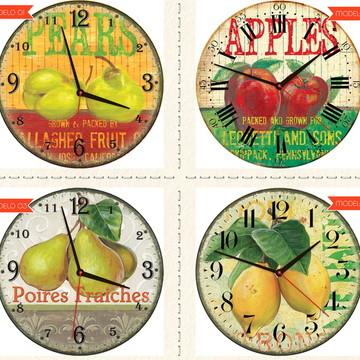Relógio De Parede Estilo Rústico Frutas