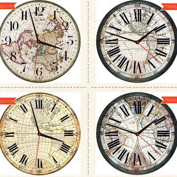 Relógio De Parede Estilo Rústico Mapas