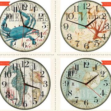 Relógio De Parede Estilo Rústico Marinho