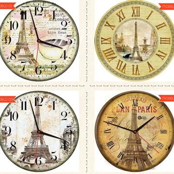 Relógio De Parede Estilo Rústico Paris