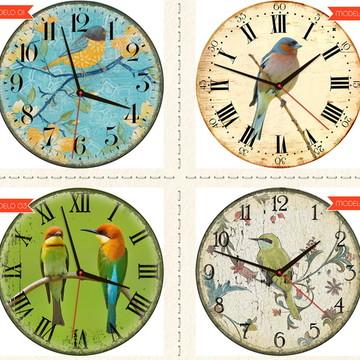 Relógio De Parede Estilo Rústico Pássaro