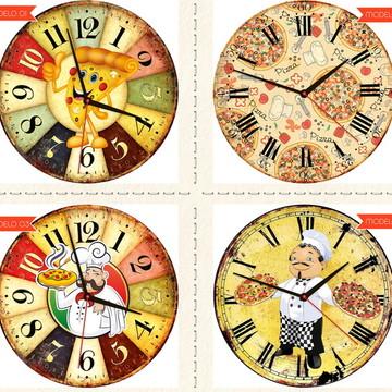 Relógio De Parede Estilo Rústico Pizza