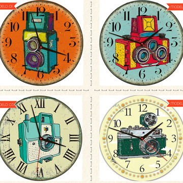 Relógio De Parede Estilo Rústico Câmera