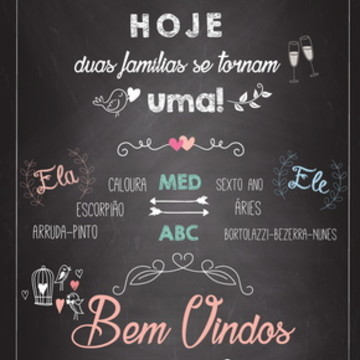 Chalkboard Casamento - IMPRESSO