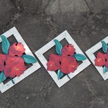 Quadro Flores Vermelhas Trio Vazado