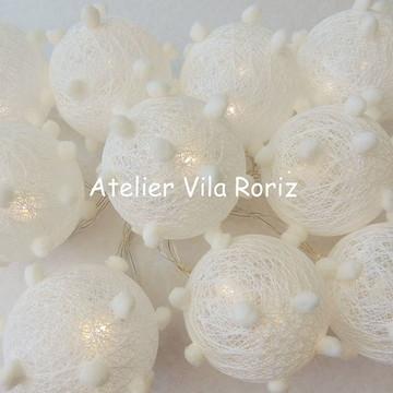Cordão de Luz Mini Pompons Brancos!!