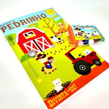Kit colorir - Revista e Giz de cera - fazendinha