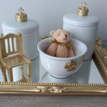 Kit Higiene com 2 Potes Porcelana