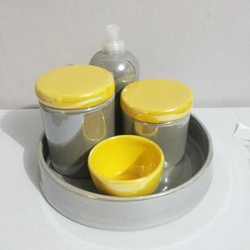 Kit porcelana perolado cinza e amarelo