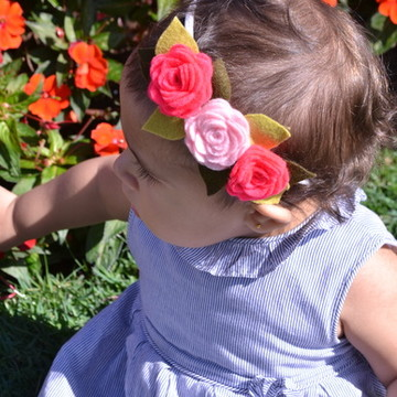 Faixa com Flores de Feltro