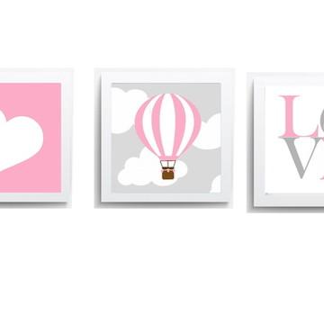 Quadro Infantil Menina Balão Love Coração Rosa