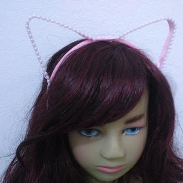 tiara gatinha rosa tecido com meia-pérolas