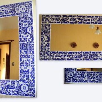 Espelho mosaico azulejo estampado