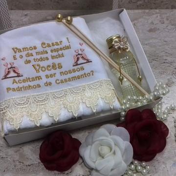 Kit Toalha convite Padrinhos + brinde
