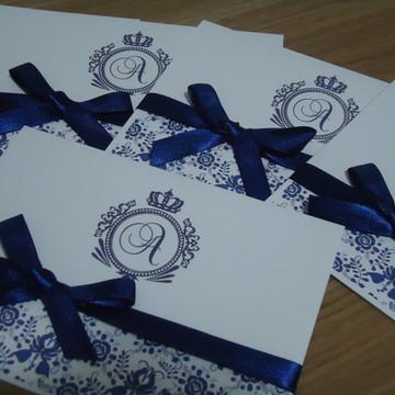 Convite de Casamento Azul Royal Barato