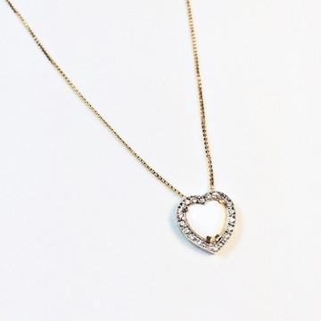 SEMIJOIA - Gargantilha coração pedra