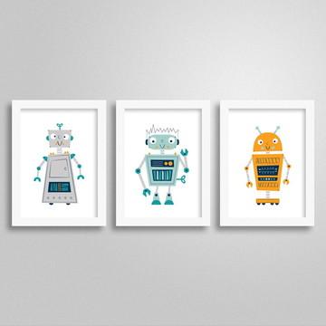 Kit Quadros Robô 3 - Decoração criativa