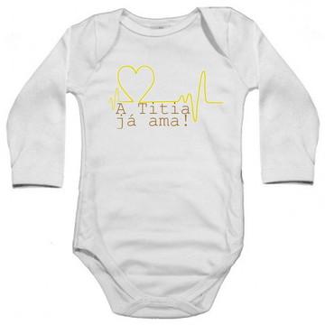 Body Bebê Manga Longa Cardíaco Titia Já Ama