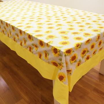 Toalha de mesa girassol com barrado