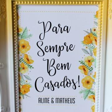Porta Retrato Bem Casados - Flores Amarela