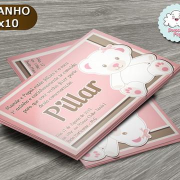Convite Ursinha rosa com marrom