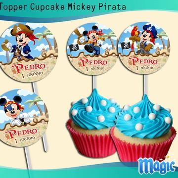 Topper Cupcake Mickey Pirata