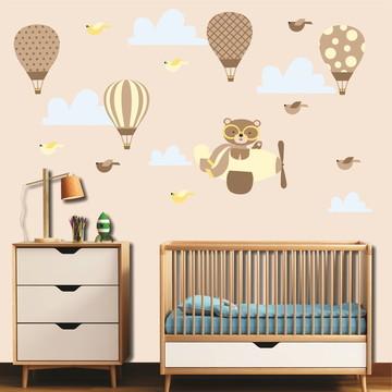 Adesivo balões + ursinho aviador