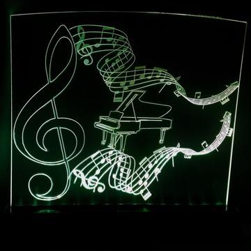 Luminária de acrílico/LED - música