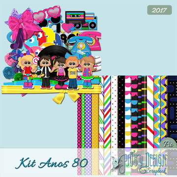 Kit Scrapbook Digital Anos 80