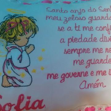 Almofada Bordada Oração santo Anjo