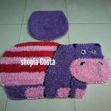 Tapete frufru banheiro hipopótamo