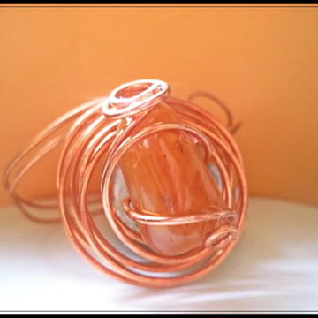 Bracelete ciclone de cobre e ágata