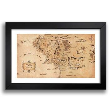 Quadro Mapa Terra Media 65x45cm Senhor dos Aneis Filme K6