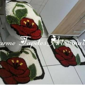 Jogo de tapetes para decoração do banheiro orquidea vermelha