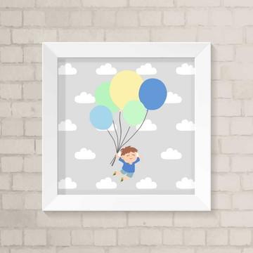 Quadro Infantil - Menino com Balão