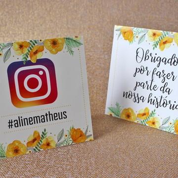 3 Plaquinhas Instagram - Flores Amarela