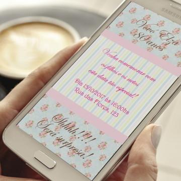 Convite Digital Floral PROMOÇÃO Whatsapp