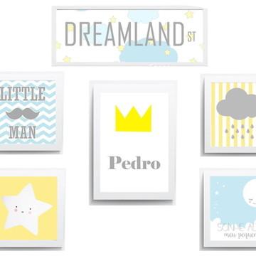 Kit Quadro Infantil Dreamland Little Sonhe Alto Estrelinha