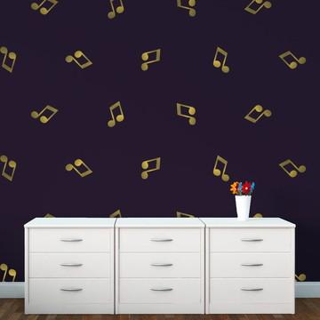 Mini Adesivo Nota Musical Dourada